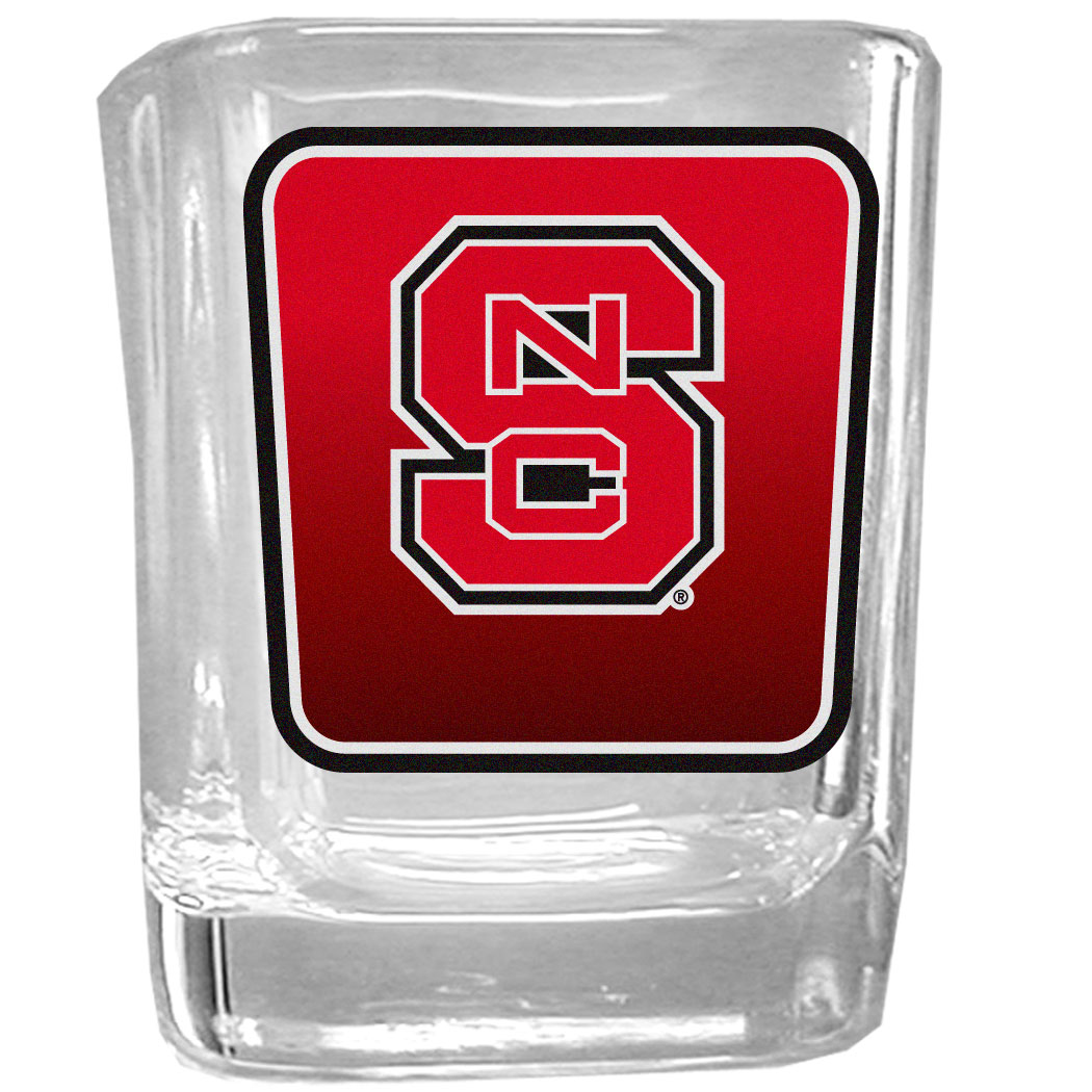 N. Carolina St. Wolfpack Square Glass Shot Glass - Our glass shot glasses are perfect for collectors or any game day event. The 2 ounce glasses feature bright, vidid digital N. Carolina St. Wolfpack graphics.