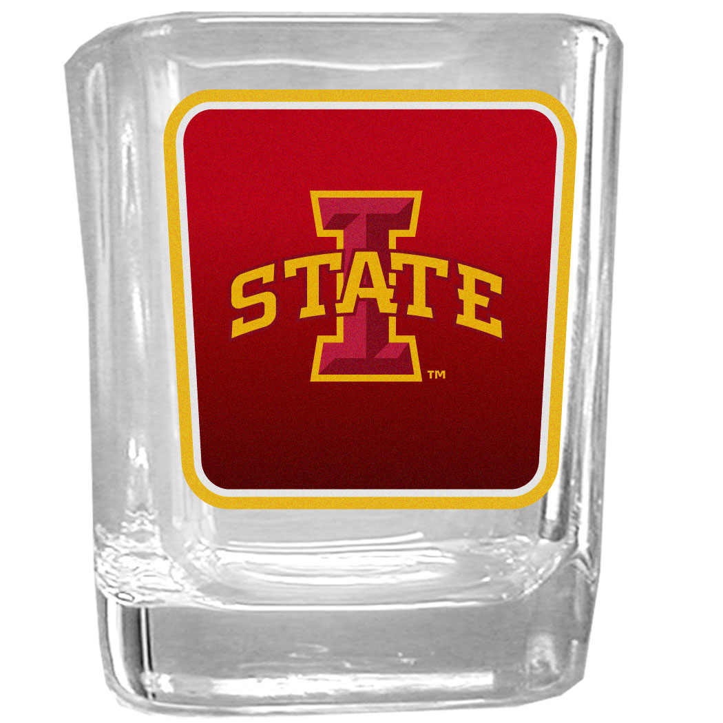 Iowa St. Cyclones Square Glass Shot Glass - Our glass shot glasses are perfect for collectors or any game day event. The 2 ounce glasses feature bright, vidid digital Iowa St. Cyclones graphics.