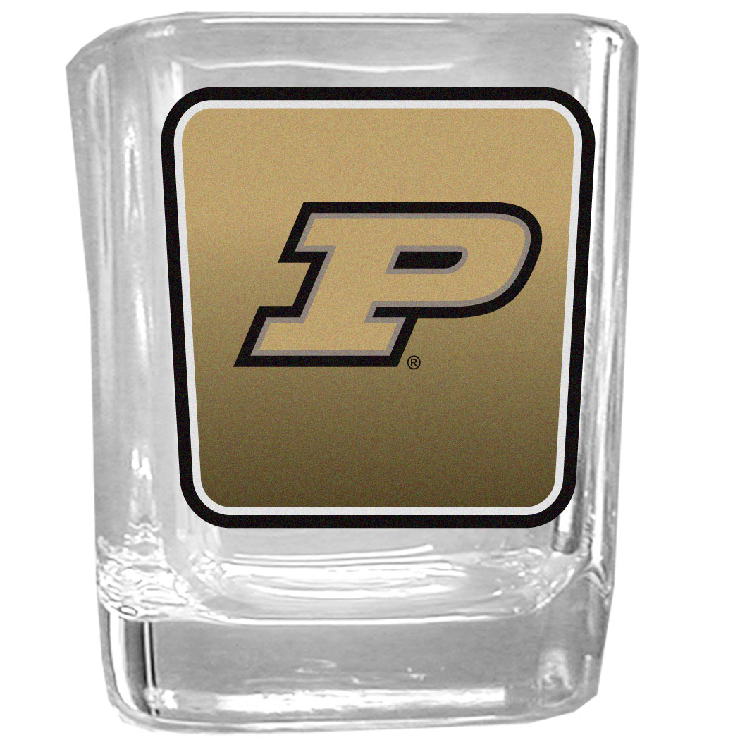 Purdue Boilermakers Square Glass Shot Glass - Our glass shot glasses are perfect for collectors or any game day event. The 2 ounce glasses feature bright, vidid digital Purdue Boilermakers graphics.