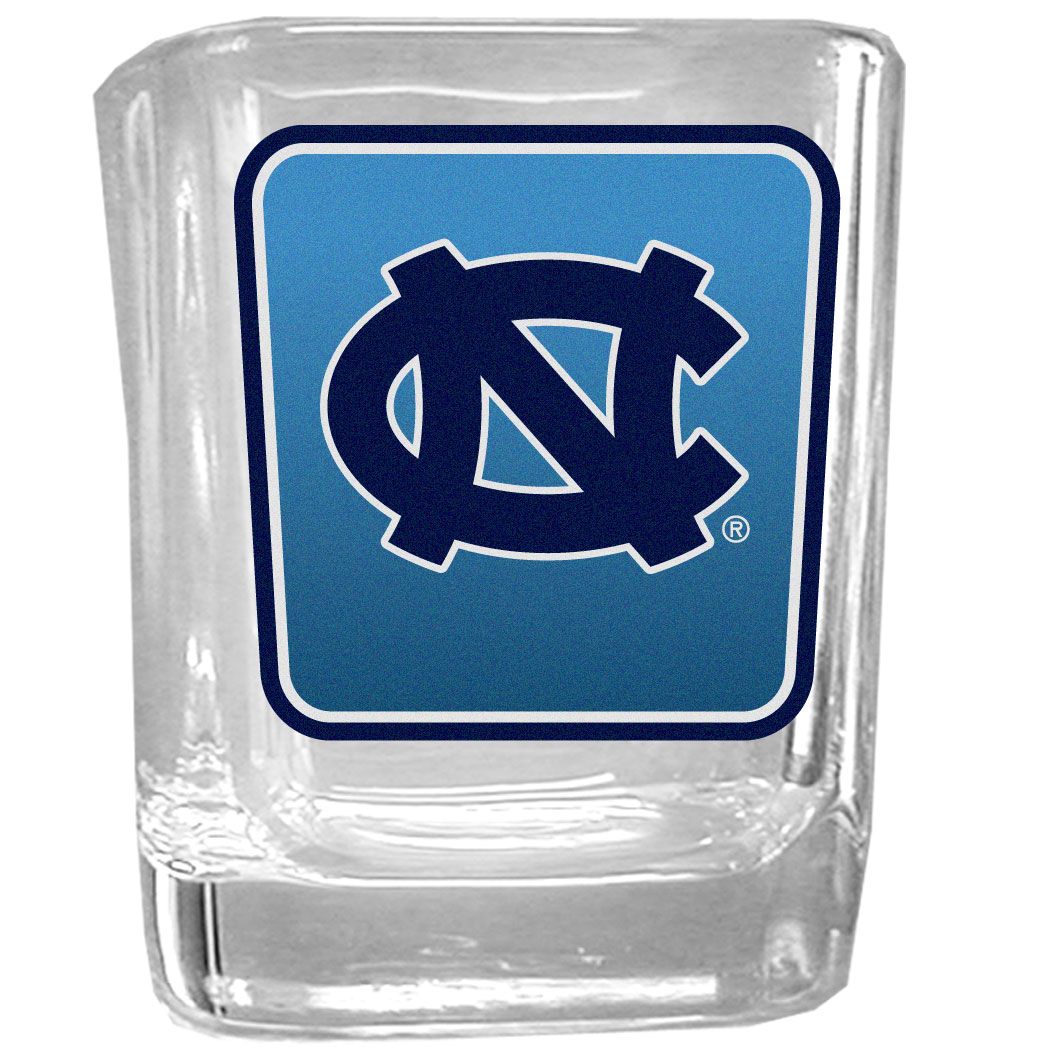 N. Carolina Tar Heels Square Glass Shot Glass - Our glass shot glasses are perfect for collectors or any game day event. The 2 ounce glasses feature bright, vidid digital N. Carolina Tar Heels graphics.