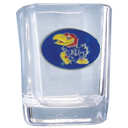 Kansas Jayhawks 2 oz Collector's Glass - This Kansas Jayhawks 2 oz collegiate square glass features a fully cast and enameled school emblem.  Thank you for shopping with CrazedOutSports.com