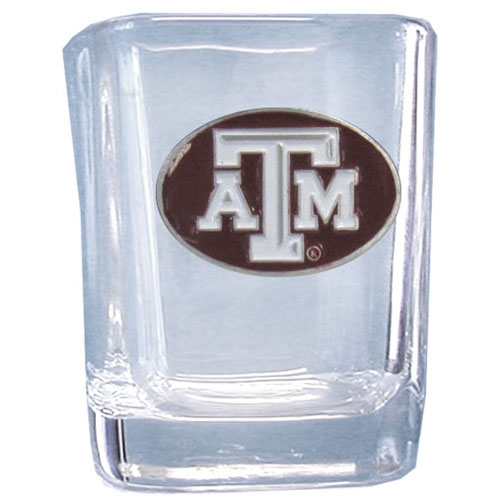 Texas A and M 2 oz Collector's Glass - Our 2 oz collegiate square glass features a fully cast and enameled school emblem.  Thank you for shopping with CrazedOutSports.com