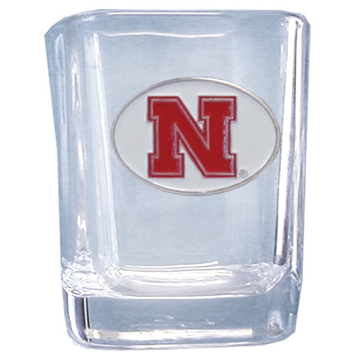 Nebraska 2 oz Collector's Glass - Our 2 oz collegiate square glass features a fully cast and enameled school emblem.  Thank you for shopping with CrazedOutSports.com