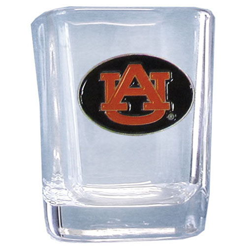 Auburn Tigers 2 oz Collector's Glass - Our 2 oz collegiate square glass features a fully cast and enameled Auburn Tigers school emblem.  Thank you for shopping with CrazedOutSports.com