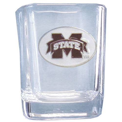 Mississippi St. 2 oz Collector's Glass - Our 2 oz collegiate square glass features a fully cast and enameled school emblem.  Thank you for shopping with CrazedOutSports.com