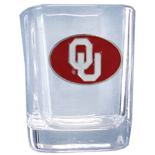 Oklahoma 2 oz Collector's Glass - Our 2 oz collegiate square glass features a fully cast and enameled school emblem.  Thank you for shopping with CrazedOutSports.com