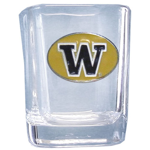 Washington 2 oz Collector's Glass - Our 2 oz collegiate square glass features a fully cast and enameled school emblem.  Thank you for shopping with CrazedOutSports.com
