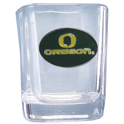 Oregon 2 oz Collector's Glass - Our 2 oz collegiate square glass features a fully cast and enameled school emblem.  Thank you for shopping with CrazedOutSports.com