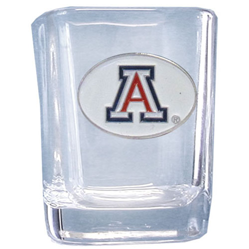Arizona 2 oz Collector's Glass - Our 2 oz collegiate square glass features a fully cast and enameled school emblem.  Thank you for shopping with CrazedOutSports.com
