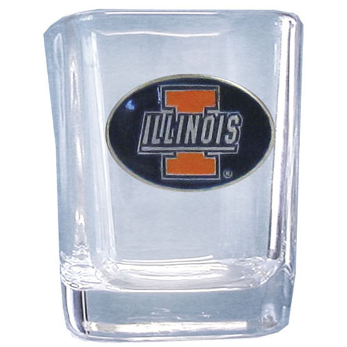 Illinois Fighting Illini 2 oz Collector's Glass - This Illinois Fighting Illini 2 oz collegiate square glass features a fully cast and enameled school emblem.  Thank you for shopping with CrazedOutSports.com
