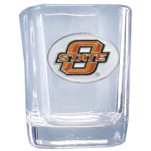 Oklahoma St. 2 oz Collector's Glass - Our 2 oz collegiate square glass features a fully cast and enameled school emblem.  Thank you for shopping with CrazedOutSports.com