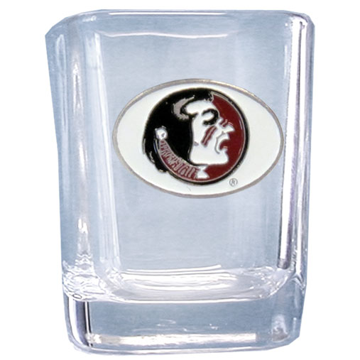 Florida State Seminoles 2 oz Collector's Glass - Our 2 oz collegiate square glass features a fully cast and enameled Florida State Seminoles emblem.  Thank you for shopping with CrazedOutSports.com