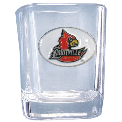 Louisville 2 oz Collector's Glass - Our 2 oz collegiate square glass features a fully cast and enameled school emblem.  Thank you for shopping with CrazedOutSports.com