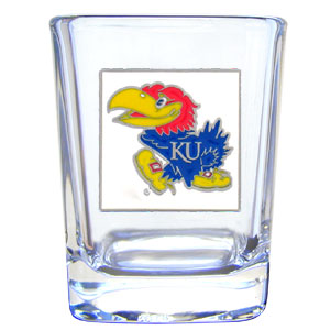 College Collector's Glass - Kansas Jayhawks - This Kansas Jayhawks college collectors 2 oz shot glass features the school logo sculpted and enameled in fine detail. The glass makes a great gift or collector's item. Check out our entire line of  collegiate products! Thank you for shopping with CrazedOutSports.com