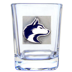 College Collector's Glass - Washington Huskies - Our  college collectors 2 oz shot glass features the school logo sculpted and enameled in fine detail. The glass makes a great gift or collector's item. Check out our entire line of  collegiate products! Thank you for shopping with CrazedOutSports.com