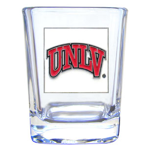 College Collector's Glass - UNLV Rebels - Our  college collectors 2 oz shot glass features the school logo sculpted and enameled in fine detail. The glass makes a great gift or collector's item. Check out our entire line of  collegiate products! Thank you for shopping with CrazedOutSports.com
