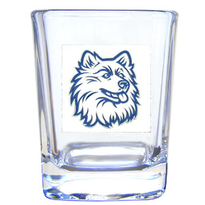College Collector's Glass - UCONN Huskies - Our  college collectors 2 oz shot glass features the school logo sculpted and enameled in fine detail. The glass makes a great gift or collector's item. Check out our entire line of  collegiate products! Thank you for shopping with CrazedOutSports.com