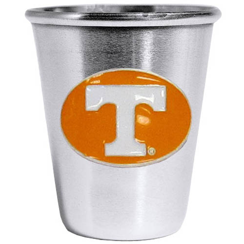 Tennessee Volunteers Steel Shot Glass - Who says glasses have to be glass, check out this ultra cool stainless steel 2 ounce collector's glass. The brushed metal glass has a painted, metal Tennessee Volunteers emblem.