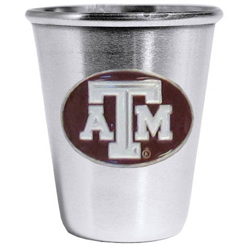 Texas A and M Aggies Steel Shot Glass - Who says glasses have to be glass, check out this ultra cool stainless steel 2 ounce collector's glass. The brushed metal glass has a painted, metal Texas A & M Aggies emblem.