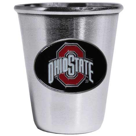 Ohio St. Buckeyes Steel Shot Glass - Who says glasses have to be glass, check out this ultra cool stainless steel 2 ounce collector's glass. The brushed metal glass has a painted, metal Ohio St. Buckeyes emblem.