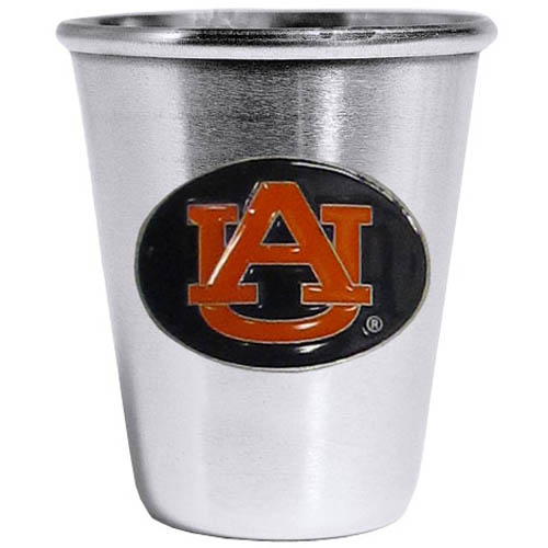Auburn Tigers Steel Shot Glass - Who says glasses have to be glass, check out this ultra cool stainless steel 2 ounce collector's glass. The brushed metal glass has a painted, metal Auburn Tigers emblem.