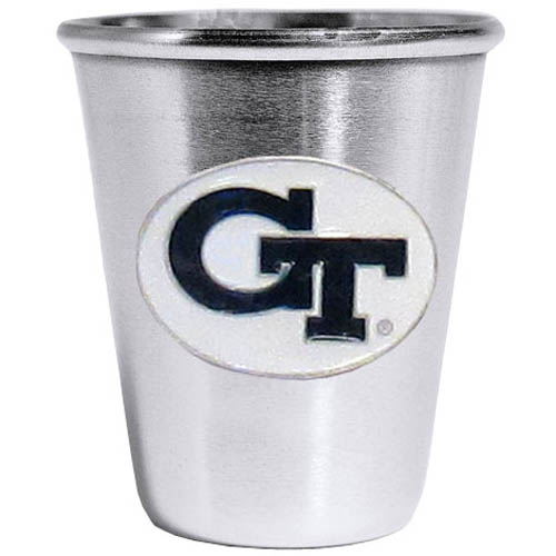 Georgia Tech Yellow Jackets Steel Shot Glass - Who says glasses have to be glass, check out this ultra cool stainless steel 2 ounce collector's glass. The brushed metal glass has a painted, metal Georgia Tech Yellow Jackets emblem.
