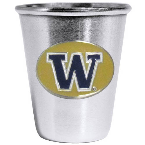 Washington Huskies Steel Shot Glass - Who says glasses have to be glass, check out this ultra cool stainless steel 2 ounce collector's glass. The brushed metal glass has a painted, metal Washington Huskies emblem.