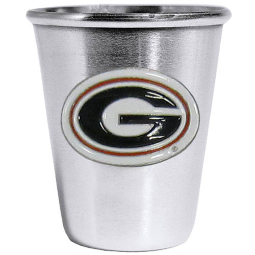 Georgia Bulldogs Steel Shot Glass - Who says glasses have to be glass, check out this ultra cool stainless steel 2 ounce collector's glass. The brushed metal glass has a painted, metal Georgia Bulldogs emblem.