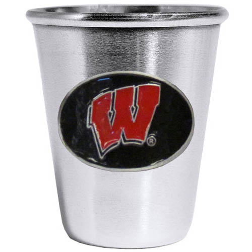 Wisconsin Badgers Steel Shot Glass - Who says glasses have to be glass, check out this ultra cool stainless steel 2 ounce collector's glass. The brushed metal glass has a painted, metal Wisconsin Badgers emblem.