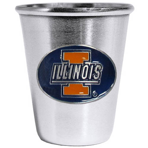 Illinois Fighting Illini Steel Shot Glass - Who says glasses have to be glass, check out this ultra cool stainless steel 2 ounce collector's glass. The brushed metal glass has a painted, metal Illinois Fighting Illini emblem.