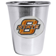 Oklahoma St. Cowboys Stainless Steel 2oz Glass - Who says glasses have to be glass, check out this ultra cool stainless steel 2 ounce collector's glass. The brushed metal glass has a painted, metal school emblem. Thank you for shopping with CrazedOutSports.com