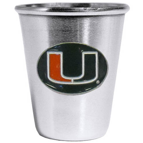 Miami Hurricanes Steel Shot Glass - Who says glasses have to be glass, check out this ultra cool stainless steel 2 ounce collector's glass. The brushed metal glass has a painted, metal Miami Hurricanes emblem.