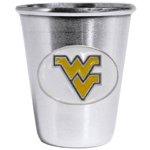 W. Virginia Mountaineers Steel Shot Glass - Who says glasses have to be glass, check out this ultra cool stainless steel 2 ounce collector's glass. The brushed metal glass has a painted, metal W. Virginia Mountaineers emblem.