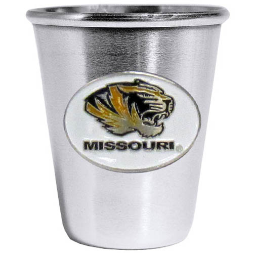 Missouri Tigers Steel Shot Glass - Who says glasses have to be glass, check out this ultra cool stainless steel 2 ounce collector's glass. The brushed metal glass has a painted, metal Missouri Tigers emblem.