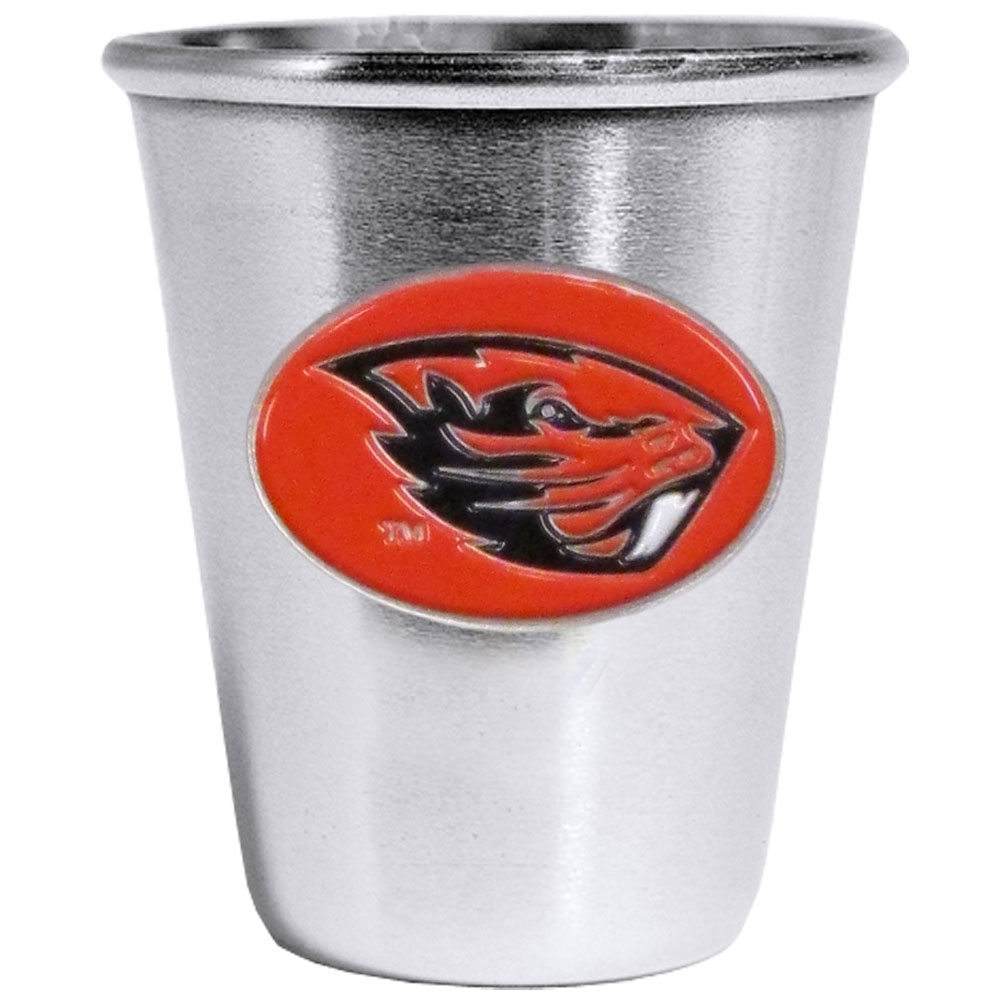 Oregon St. Beavers Steel Shot Glass - Who says glasses have to be glass, check out this ultra cool stainless steel 2 ounce collector's glass. The brushed metal glass has a painted, metal Oregon St. Beavers emblem.