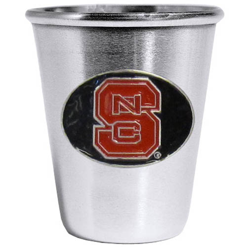 N. Carolina St. Wolfpack Steel Shot Glass - Who says glasses have to be glass, check out this ultra cool stainless steel 2 ounce collector's glass. The brushed metal glass has a painted, metal N. Carolina St. Wolfpack emblem.