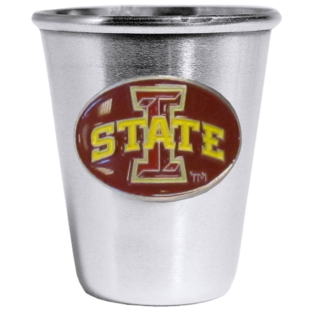 Iowa St. Cyclones Steel Shot Glass - Who says glasses have to be glass, check out this ultra cool stainless steel 2 ounce collector's glass. The brushed metal glass has a painted, metal Iowa St. Cyclones emblem.