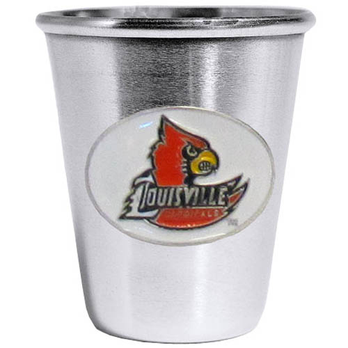 Louisville Cardinals Steel Shot Glass - Who says glasses have to be glass, check out this ultra cool stainless steel 2 ounce collector's glass. The brushed metal glass has a painted, metal Louisville Cardinals emblem.