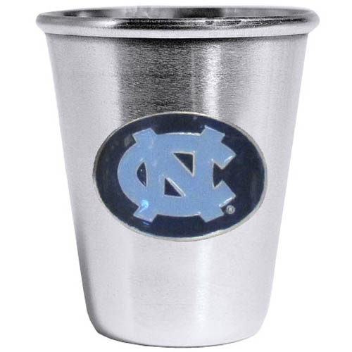 N. Carolina Tar Heels Steel Shot Glass - Who says glasses have to be glass, check out this ultra cool stainless steel 2 ounce collector's glass. The brushed metal glass has a painted, metal N. Carolina Tar Heels emblem.