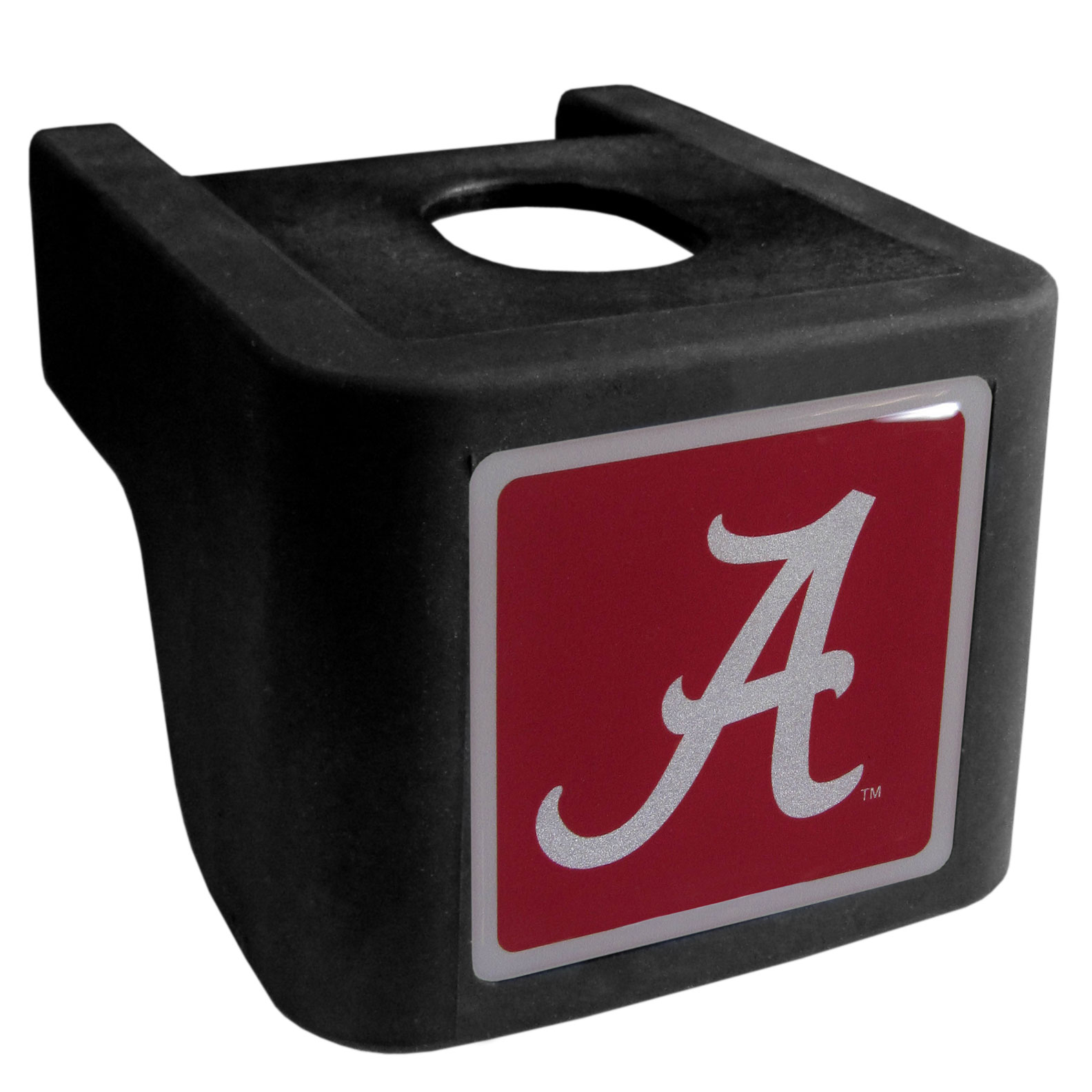 Alabama Crimson Tide Shin Shield Hitch Cover - This unique hitch cover features a large Alabama Crimson Tide logo. If you have ever hooked up a trailer or boat your have probably smashed your shins on the ball hitch a few times. This revolutionary shin shield hitch cover provides your much abused shins with the protection they deserve! The tough rubber hitch is rated to work with Class V hitch receivers hauling up to 17,000 gross trailer weight and 1,700 tongue weight allowing you to leave it on while hauling.