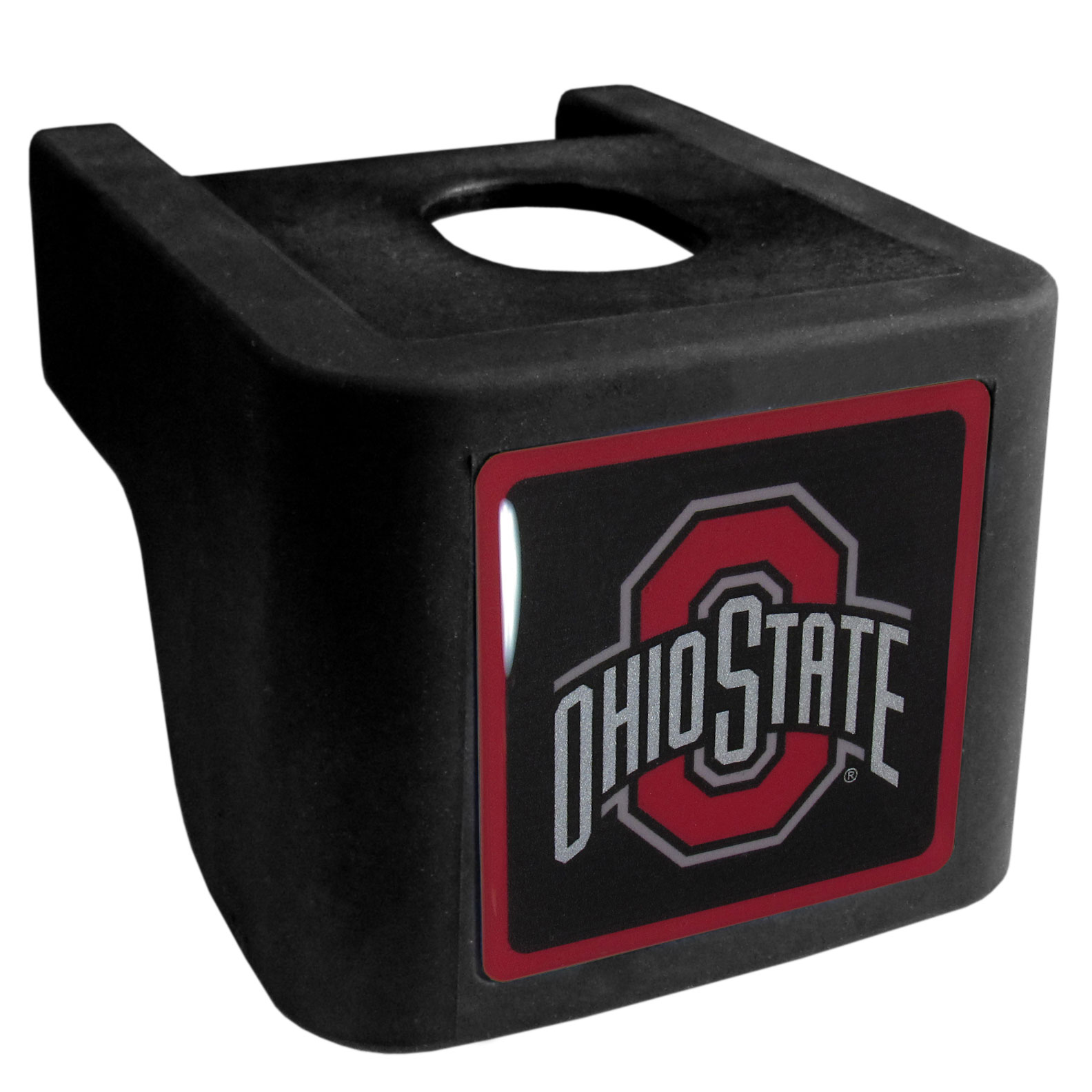 Ohio St. Buckeyes Shin Shield Hitch Cover - This unique hitch cover features a large Ohio St. Buckeyes logo. If you have ever hooked up a trailer or boat your have probably smashed your shins on the ball hitch a few times. This revolutionary shin shield hitch cover provides your much abused shins with the protection they deserve! The tough rubber hitch is rated to work with Class V hitch receivers hauling up to 17,000 gross trailer weight and 1,700 tongue weight allowing you to leave it on while hauling.