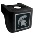 Michigan St. Spartans Shin Shield Hitch Cover - This unique Michigan St. Spartans Shin Shield Hitch Cover features a large Michigan St. Spartans logo. If you have ever hooked up a trailer or boat your have probably smashed your shins on the ball hitch a few times. This revolutionary shin shield hitch cover provides your much abused shins with the protection they deserve! The tough rubber hitch is rated to work with Class V hitch receivers hauling up to 17,000 gross trailer weight and 1,700 tongue weight allowing you to leave it on while hauling. Thank you for shopping with CrazedOutSports.com