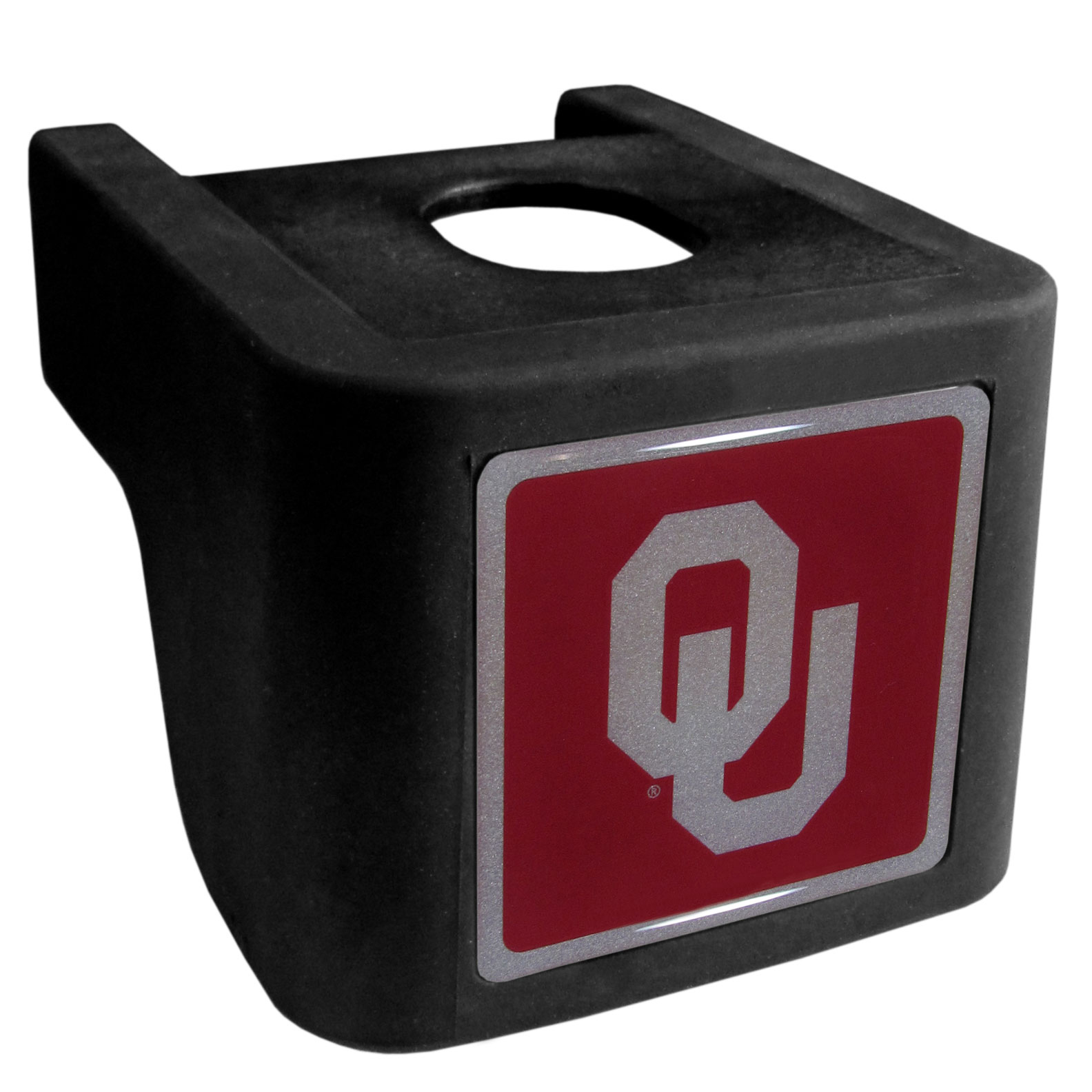 Oklahoma Sooners Shin Shield Hitch Cover - This unique hitch cover features a large Oklahoma Sooners logo. If you have ever hooked up a trailer or boat your have probably smashed your shins on the ball hitch a few times. This revolutionary shin shield hitch cover provides your much abused shins with the protection they deserve! The tough rubber hitch is rated to work with Class V hitch receivers hauling up to 17,000 gross trailer weight and 1,700 tongue weight allowing you to leave it on while hauling.