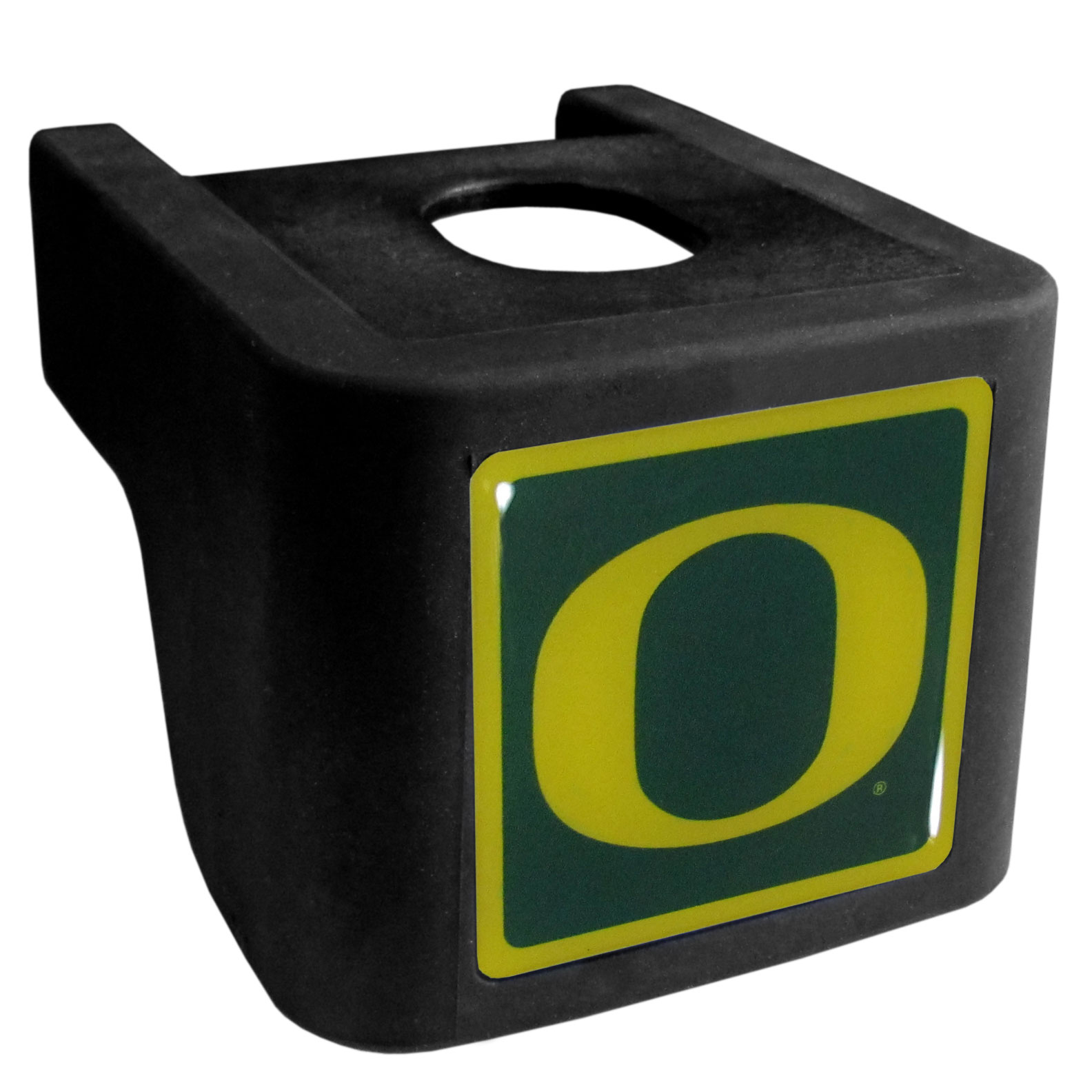Oregon Ducks Shin Shield Hitch Cover - This unique hitch cover features a large Oregon Ducks logo. If you have ever hooked up a trailer or boat your have probably smashed your shins on the ball hitch a few times. This revolutionary shin shield hitch cover provides your much abused shins with the protection they deserve! The tough rubber hitch is rated to work with Class V hitch receivers hauling up to 17,000 gross trailer weight and 1,700 tongue weight allowing you to leave it on while hauling.