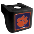 Clemson Tigers Shin Shield Hitch Cover - This unique hitch cover features a large Clemson Tigers logo. If you have ever hooked up a trailer or boat your have probably smashed your shins on the ball hitch a few times. This revolutionary shin shield hitch cover provides your much abused shins with the protection they deserve! The tough rubber hitch is rated to work with Class V hitch receivers hauling up to 17,000 gross trailer weight and 1,700 tongue weight allowing you to leave it on while hauling. Thank you for shopping with CrazedOutSports.com