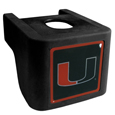 Miami Hurricanes Shin Shield Truck Hitch Cover - This unique Miami Hurricanes hitch cover features a large Miami Hurricanes logo. If you have ever hooked up a trailer or boat your have probably smashed your shins on the ball hitch a few times. This revolutionary shin shield hitch cover provides your much abused shins with the protection they deserve! The tough rubber hitch is rated to work with Class V hitch receivers hauling up to 17,000 gross trailer weight and 1,700 tongue weight allowing you to leave it on while hauling. Thank you for shopping with CrazedOutSports.com