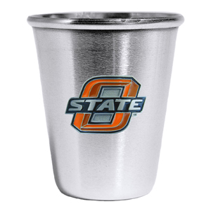 Collegiate Steel Glass -  Oklahoma St. Cowboys - Our collegiate stainless steel shot glass features a metal school emblem with enameled finish. Thank you for shopping with CrazedOutSports.com