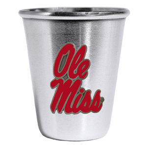 Collegiate Steel Glass -  Mississippi Rebels - Our collegiate stainless steel shot glass features a metal school emblem with enameled finish. Thank you for shopping with CrazedOutSports.com