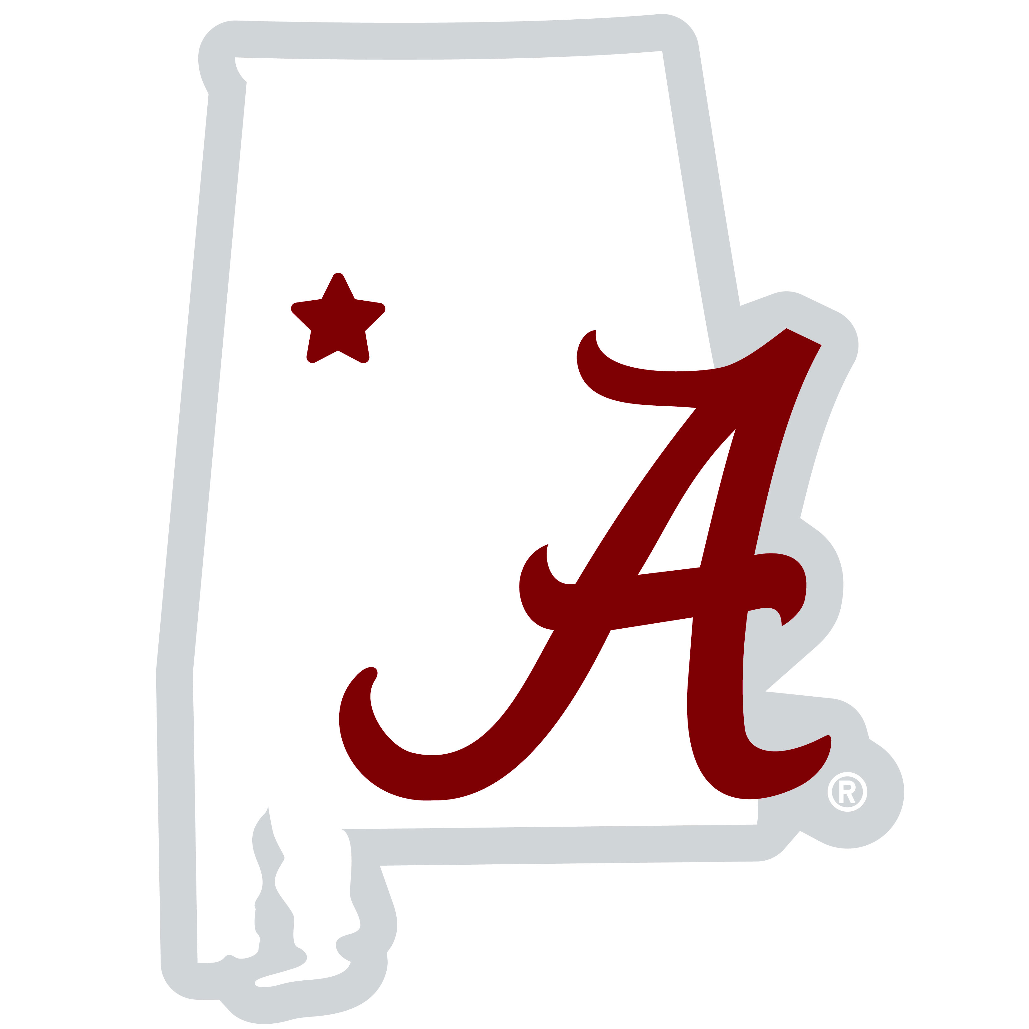 Alabama Crimson Tide Home State 11 Inch Magnet - Whether you are caravaning to the game or having a tailgate party make sure you car is wearing its fan gear with our extra large, 11 inch Alabama Crimson Tide home state magnets. These striking magnets can be easily placed on for game day and removed without he residue left by decals. The design features a bright state outline with the location of the team highlighted with a football and a large team logo.
