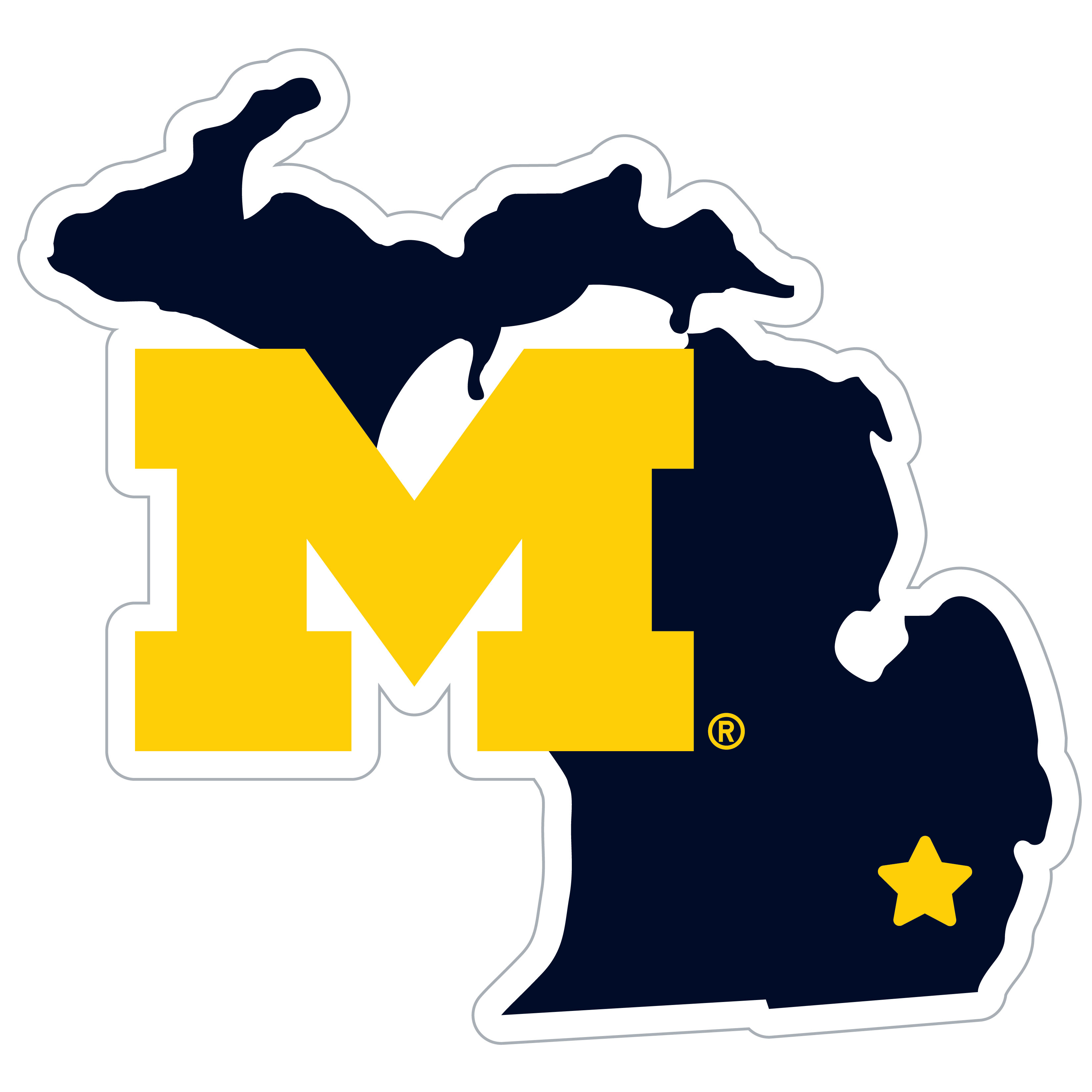 Michigan Wolverines Home State 11 Inch Magnet - Whether you are caravaning to the game or having a tailgate party make sure you car is wearing its fan gear with our extra large, 11 inch Michigan Wolverines home state magnets. These striking magnets can be easily placed on for game day and removed without he residue left by decals. The design features a bright state outline with the location of the team highlighted with a football and a large team logo.